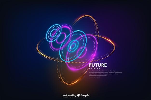 Astratto futuristico incandescente sfondo ologramma
