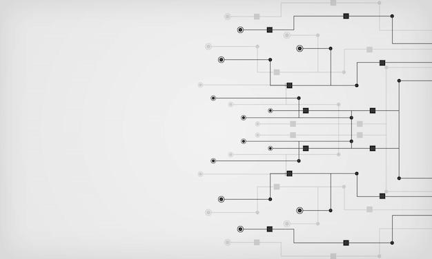 Astratto geometrico con linea e punti collegati. sfondo di alta tecnologia con circuito stampato.