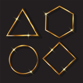 Astratto incorniciato con segni dorati e luci scintillanti su uno sfondo nero moderno