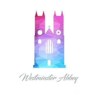 Astratto logo monumento per l'abbazia di westminster fatta di triangoli
