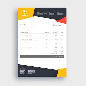 Astratto rosso, grigio e giallo, modello di fattura per il tuo business.