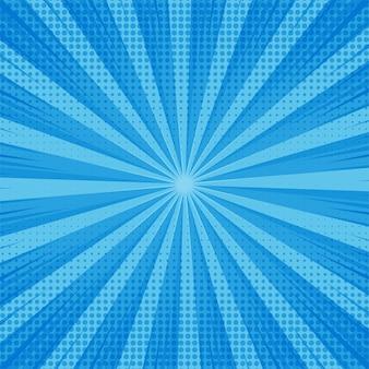 Astratto sfondo blu comico con design punteggiato