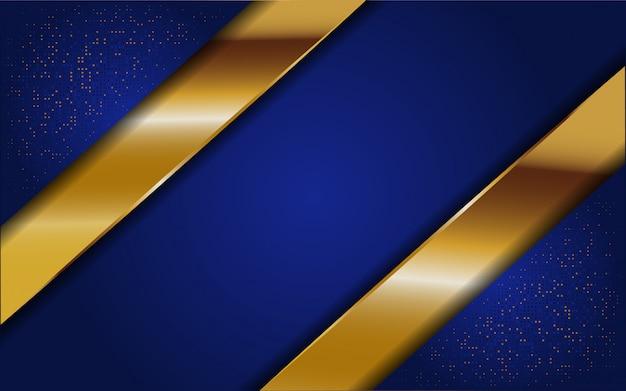 Astratto sfondo blu con glitter e linea oro
