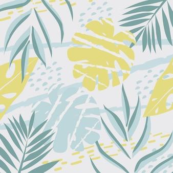 Astratto sfondo colorato con foglie tropicali in colori pastello.