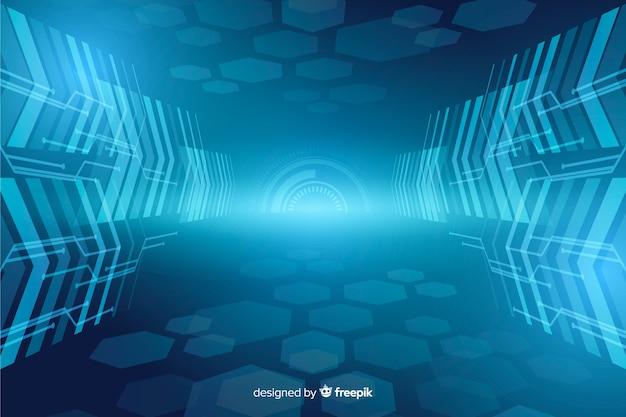 Astratto sfondo di tunnel di luce tecnologica