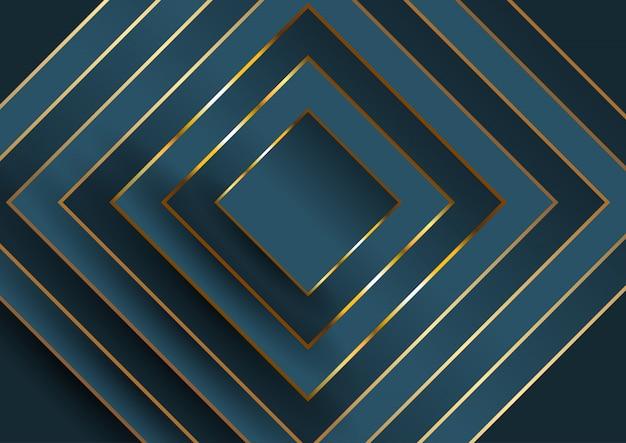 Astratto sfondo elegante con quadrato in blu e oro