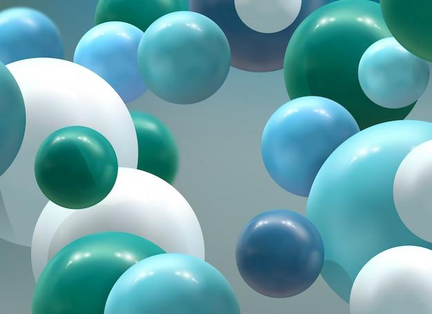 Astratto sfondo futuristico con sfere colorate 3d, bolle lucide, palle.