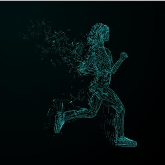 Astratto sfondo futuristico. modello di copertina ragazze da jogging low poly blu con ali di particelle triangolari.