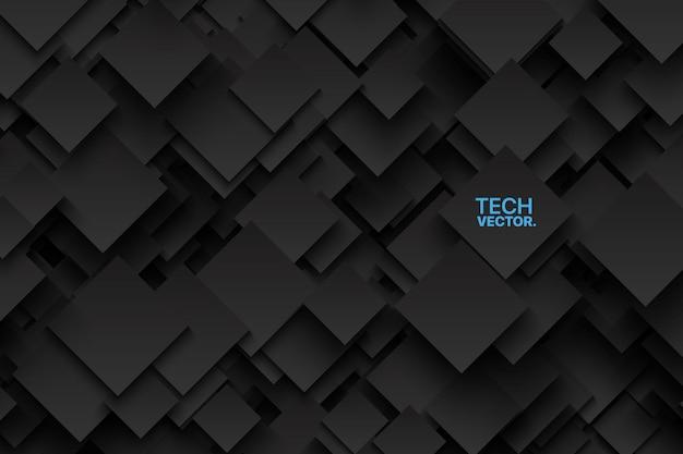 Astratto sfondo grigio scuro 3d. struttura tecnologica in carbonio cristallino tagliente.