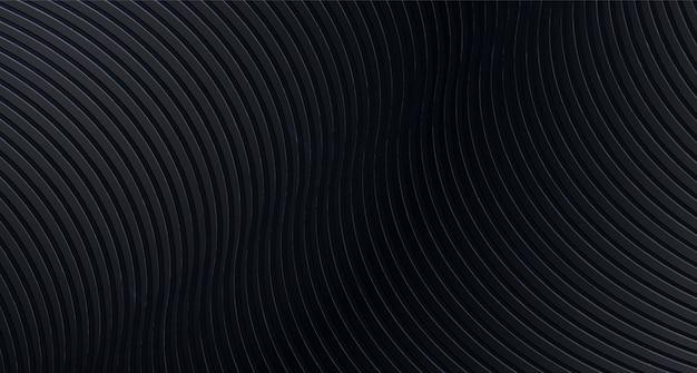 Astratto sfondo nero con strisce ondulate