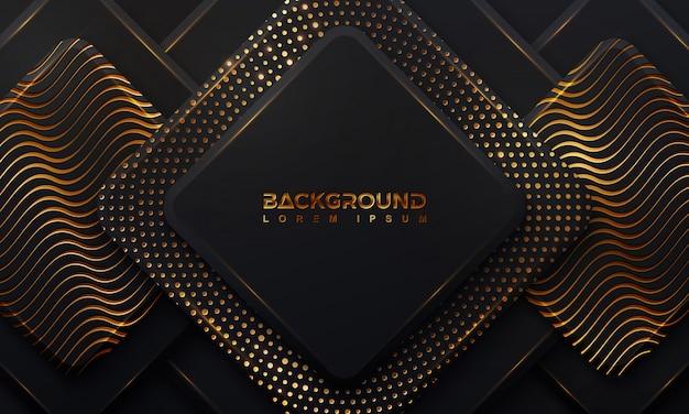 Astratto sfondo nero con una combinazione di punti d'oro incandescente con stile 3d