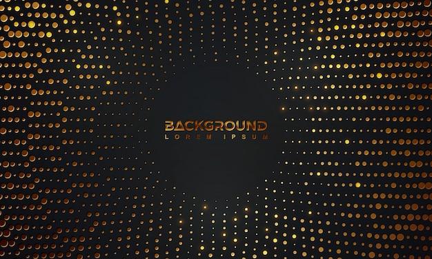 Astratto sfondo nero con una combinazione di punti d'oro incandescente