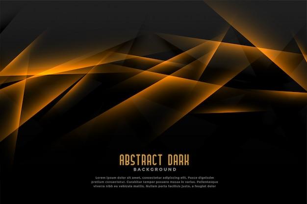 Astratto sfondo nero e dorato con effetto luce linea