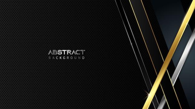 Astratto sfondo nero metallico con linee diagonali dorate e argentate