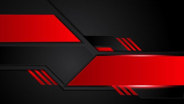 Astratto sfondo nero rosso metallizzato con strisce a contrasto. concetto astratto dell'innovazione di tecnologia grafica vettoriale