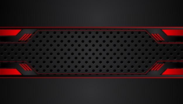 Astratto sfondo nero rosso metallizzato con strisce a contrasto