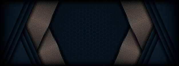 Astratto sfondo scuro con forma di linea luminosa dorata