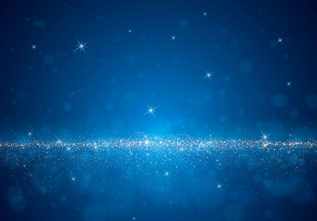 Astratto sfondo sfocato con luce vivida, bokeh e particelle incandescenti.