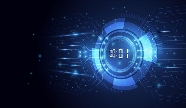 Astratto sfondo tecnologia futuristica con timer numerico digitale e conto alla rovescia