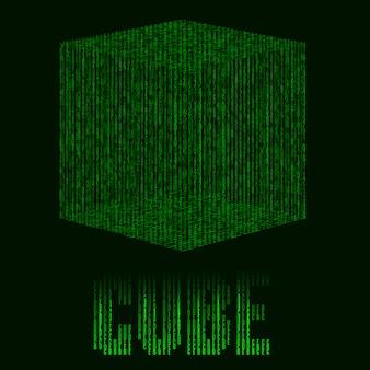 Astratto sfondo verde futuristico con cubo in stile matrix