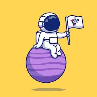 Astronauta carino seduto sul pianeta tenendo la bandiera del fumetto. concetto di icona dello spazio