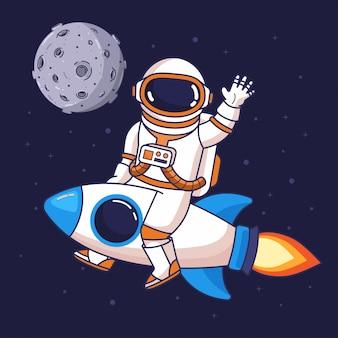 Astronauta cavalcando un razzo nello spazio