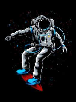 Astronauta che esplora l'universo con la sua illustrazione di skateboard