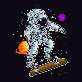Astronauta che gioca a skate nello spazio