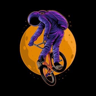 Astronauta che guida l'illustrazione della bici del bmx con la luna sul retro isolata
