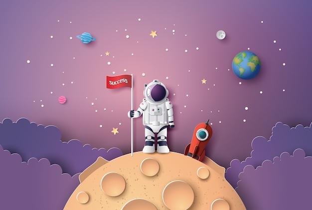 Astronauta con bandiera sulla luna,