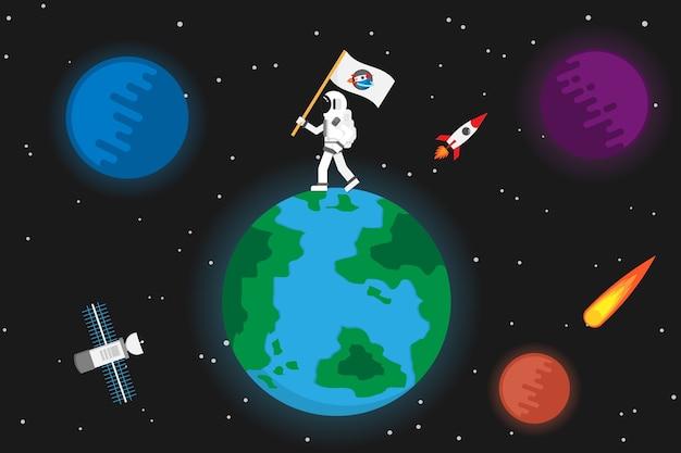 Astronauta con pianeta design.vector e illustrazione