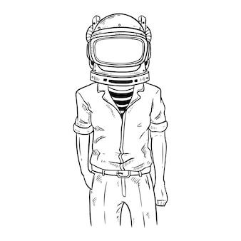 Astronauta con stile alla moda usando disegnati a mano