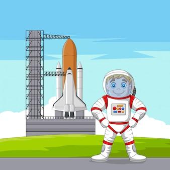 Astronauta del fumetto con l'astronave pronta al lancio