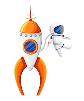 Astronauta del fumetto con la tuta spaziale vicino al razzo nell'illustrazione arancione e bianca dell'astronave di gravità zero sulla pagina del sito web del fondo bianco e sull'app mobile