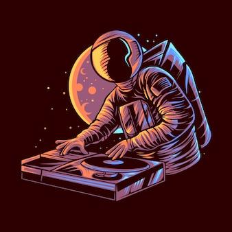 Astronauta dj con progettazione dell'illustrazione del fondo della luna