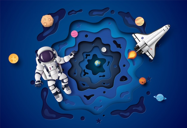 Astronauta fluttuante nella stratosfera. arte cartacea e stile artigianale.