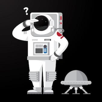 Astronauta in cerca di qualcosa con drone