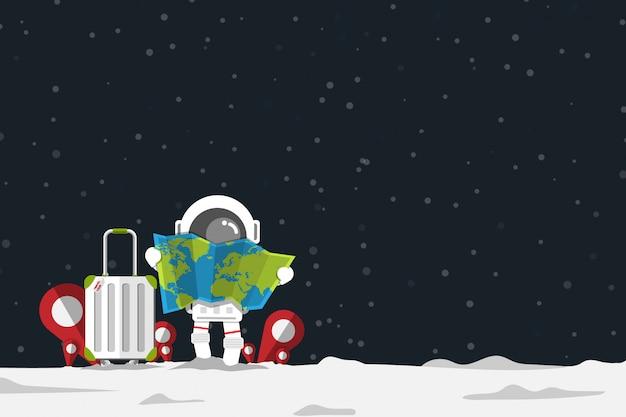 Astronauta in possesso di carta mappa con bagagli e posizione check in segno