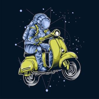 Astronauta in sella a scooter nello spazio