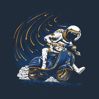Astronauta in sella a vespa disegnata a mano