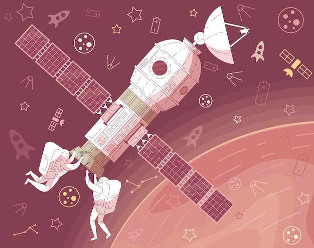 Astronauta in tuta riparazione astronave nello spazio esterno