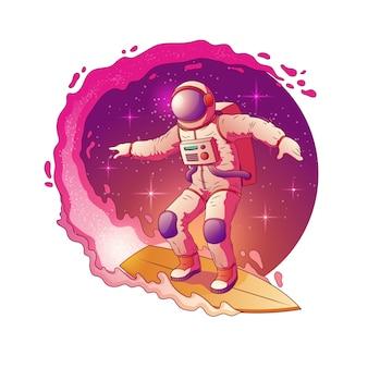 Astronauta in tuta spaziale in piedi sulla tavola da surf e surf nelle stelle della via lattea