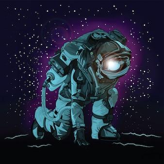 Astronauta in tuta spaziale sullo spazio