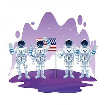Astronauta nei cartoni di esplorazione dello spazio isolati
