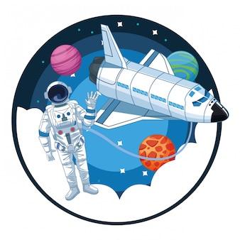 Astronauta nei cartoni di esplorazione dello spazio