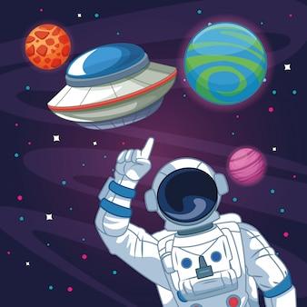 Astronauta nel cartone della galassia