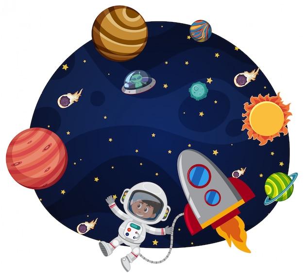 Astronauta nel modello dello spazio