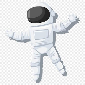 Astronauta nell'illustrazione della tuta spaziale e del casco su fondo trasparente