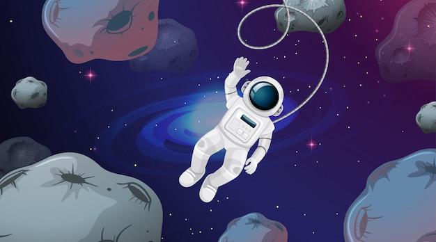 Astronauta nella scena di un asteroide