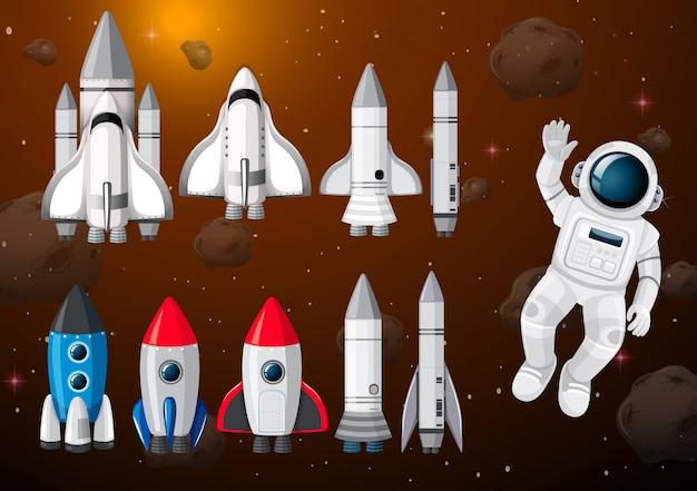 Astronauta nella scena spaziale